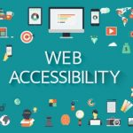 Web Accessibility graphic, with many small related icons