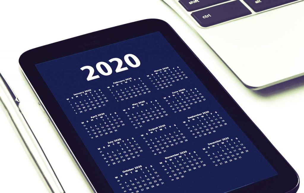 SMART phone displaying a 2020 calendar