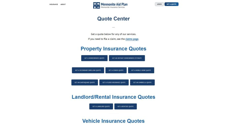 Quote center landing page
