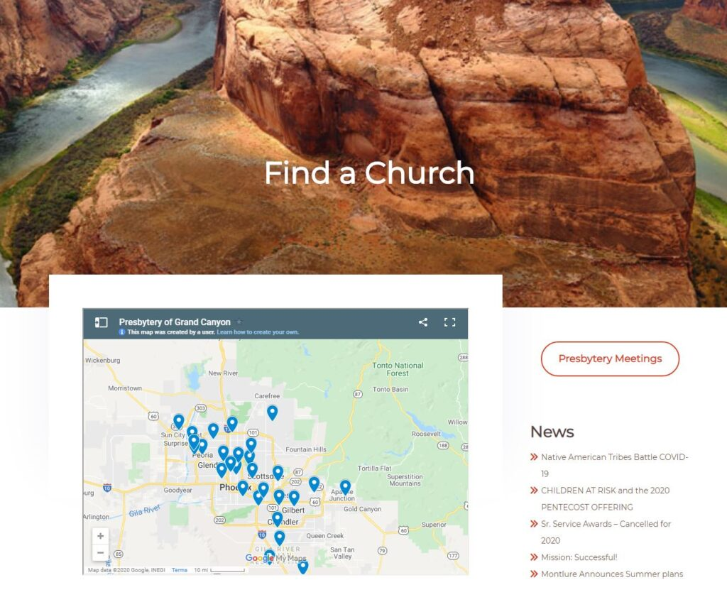 find a church interactive map