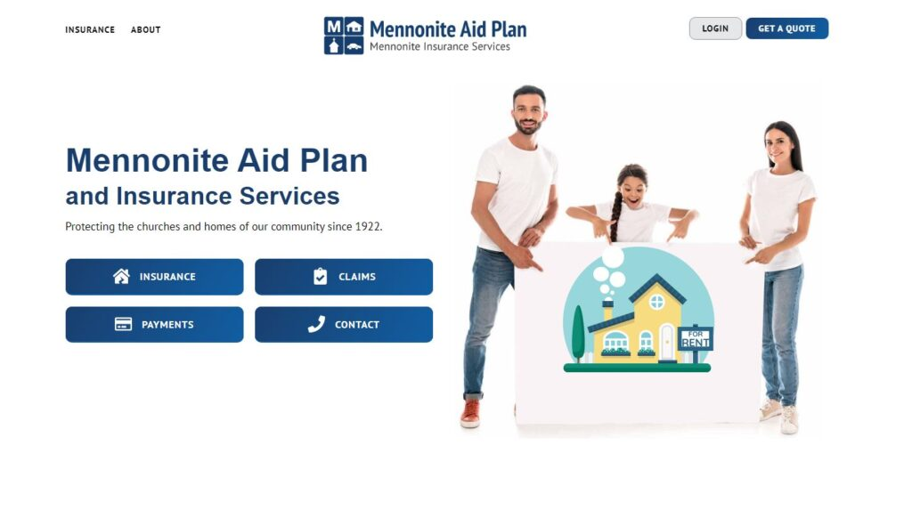 insurance hompage with family photo looking at insurance options