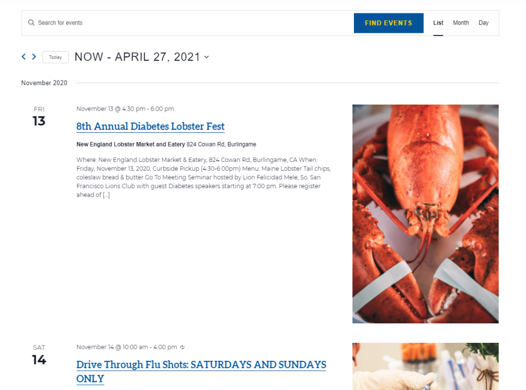 View of the events calendar featuring an event on November 13, 2020 titled 8th Annual Diabetes Lobster Fest with information about the date and time