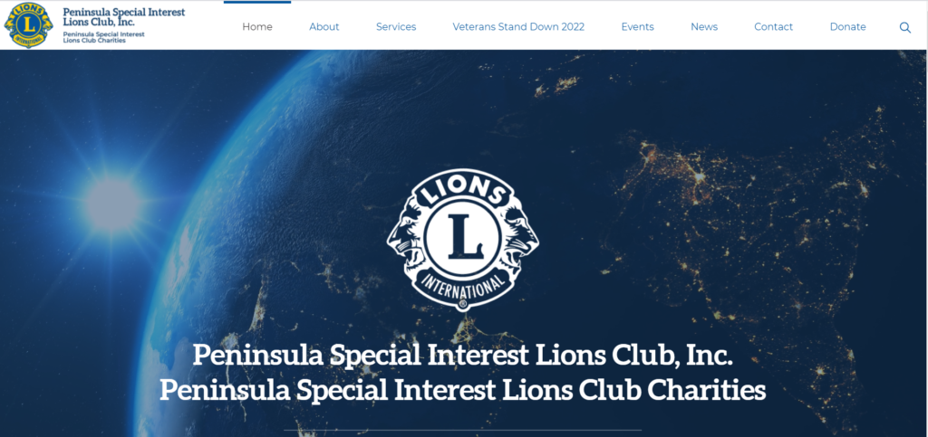 Home page for Peninsula Special Interest Lions Club, Inc.