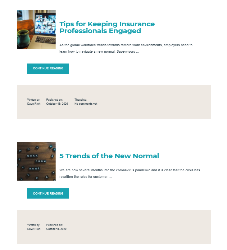 "A screenshot of the news page featuring an article titled ""Tips for Keeping Insurance Professionals Engaged"" and an article titled ""5 Trends of the New Normal"""