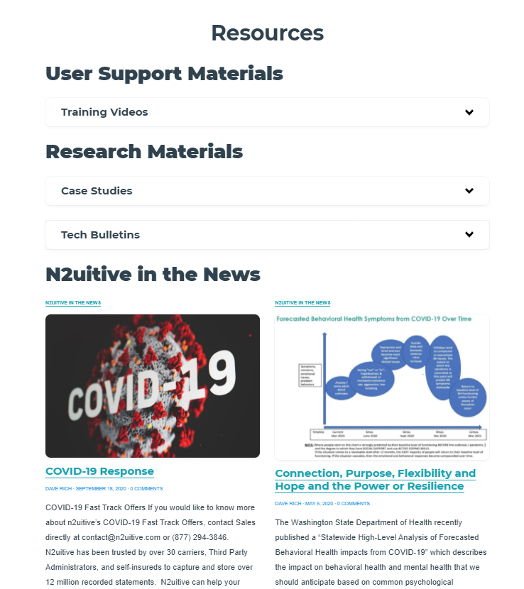 A screenshot of the resource page featuring accordion drop downs covering User Support Materials, Training Videos, Research Materials, Case Studies, Tech Bulletins and articles of N2utitive in the news