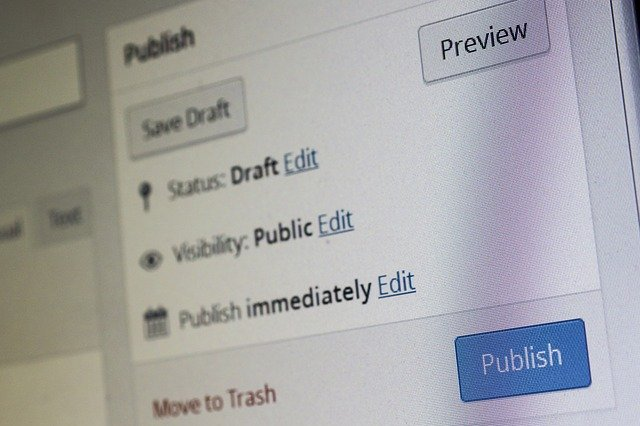 A closeup of the WordPress publishing interface on a post or page