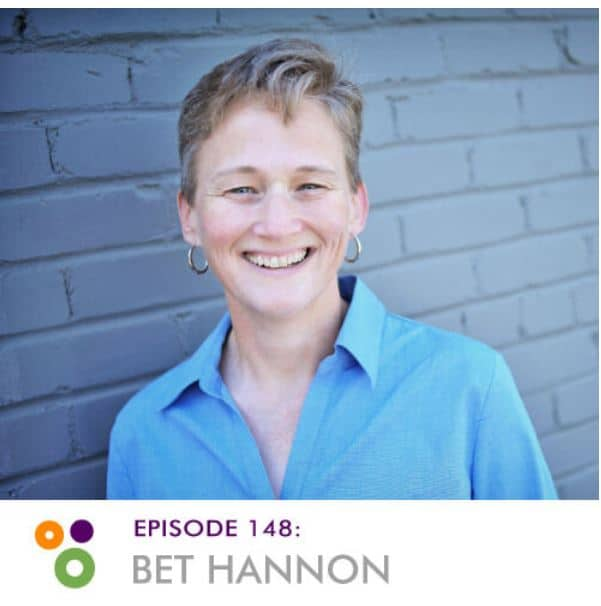 Bet Hannon's headshot framed by the Hallway Chats branding and a notification that she appears on episode 148